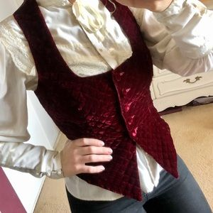 Quilted Velvet Burgundy Vest Victorian Renaissance